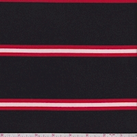 Black/Red/White Stripe Double Brushed French Terry Knit