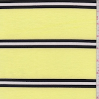 Lemon/Black Stripe Double Brushed French Terry Knit