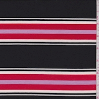 Black/Red/Pink Stripe Double Brushed French Terry Knit