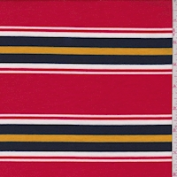 Red/Navy/Gold Stripe Double Brushed French Terry Knit