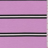 Orchid/Black Stripe Double Brushed French Terry Knit