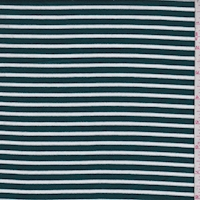 Spruce/White Stripe Double Brushed French Terry Knit