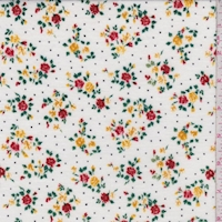 White Mini Floral Pindot Brushed French Terry Knit