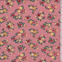 Dark Blush Mini Floral Pindot Brushed French Terry Knit