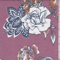 Dark Mauve/White Stylized Floral Double Brushed French Terry Knit