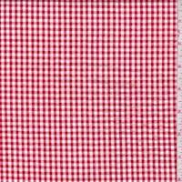 *4 1/2 YD PC--Cherry Red/White Gingham Check Cotton Seersucker