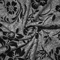 *1 1/4 YD PC--Black/Static Gray Floral Velvet Flock Textured Knit