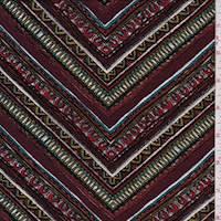 *4 7/8 YD PC--Maroon Multi Deco Chevron Liverpool Knit