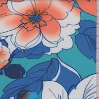 *3 YD PC--Turquoise Floral Scuba Knit
