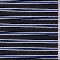 *3 YD PC--Black/Royal Stripe Sweatshirt Fleece