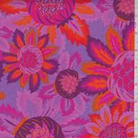 *2 3/8 YD PC--Lilac/Fuchsia Stylized Bloom Print Cotton