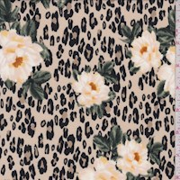 *2 1/4 YD PC--Beige Cheetah Floral Double Brushed Jersey Knit