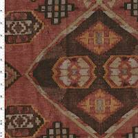 *1 3/8 YD PC--Brown/Beige/Multi Tribal Printed Faux Suede Decor Fabric