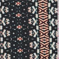 *2 YD PC--ITY Black/Green/Orange Mottled Stripe Jersey Knit