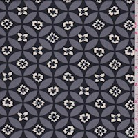 *2 YD PC--Black/Pewter Floral Circle ITY Knit