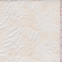 Antique Cream Embroidered Floral Lawn
