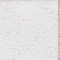Ivory Embroidered Fan Floral Scroll Lawn