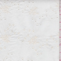 Creamy Ivory Embroidered Eyelet Floral Lawn