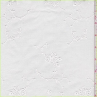 White Embroidered Floral Vine Lawn