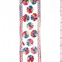 Cream Multi Embroidered Floral Stripe Linen