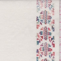 Cream Embroidered Cross Stitch Stripe Linen