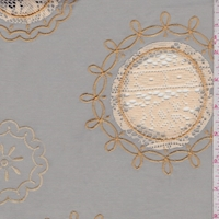 Sage Green/Gold Embroidered Circular Medallion Lawn