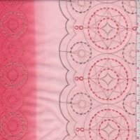 Pale Peach/Salmon Red Embroidered Cotton Lawn