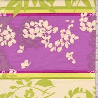 Lime/Fuchsia Botanical Stripe Print Cotton