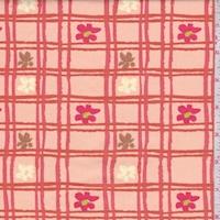 Pale Orange Floral Check Print Cotton