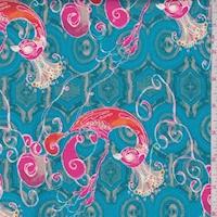 Aqua/Hot Pink Peacock Print Cotton