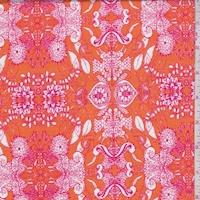 Orange/Hot Pink Mum Medallion Print Cotton