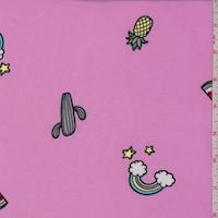 Bubblegum Pink Fruit/Rainbow Double Brushed Jersey Knit