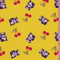 Sunshine Yellow Panda Double Brushed Jersey Knit