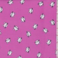 Bright Fuchsia Kitty Double Brushed Jersey Knit