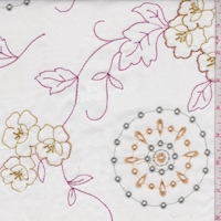 White/Yellow/Pink Embroidered Floral Cotton