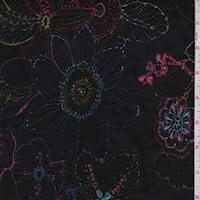 Black/Aqua/Berry Embroidered Floral Cotton