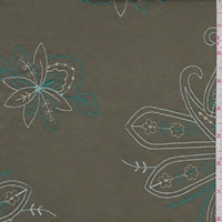 Olive/Teal/Mist Embroidered Paisley Lawn