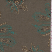Olive/Teal/Gold Embroidered Paisley Lawn