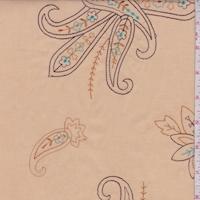 Beige/Mocha/Orange Embroidered Paisley Lawn