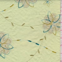 Citron Green Embroidered Floral Lawn
