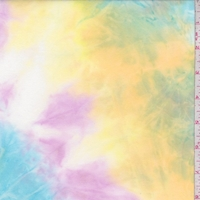 Yellow/Turquoise/Lilac Tie Dye Double Brushed Jersey Knit