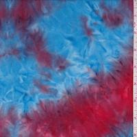 Red/Blue/Orange Tie Dye Double Brushed Jersey Knit