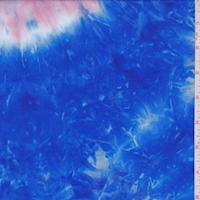 Cobalt/Pink Tie Dye Double Brushed Jersey Knit
