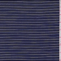 Navy Embroidered Stripe Cotton Lawn