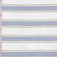 White/Blue/Yellow Stripe Shirting