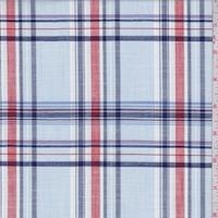 Pale Blue/Navy/Red Plaid Shirting