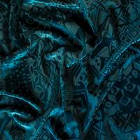 *2 7/8 YD PC--Abyss Teal Geometric Burnout Velvet Knit