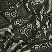 *4 YD PC--Glacier Gray/Black Abstract Geometric Burnout Velvet Knit