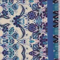 *1 1/2 YD PC--Cream/Blue Stylized Floral Rayon Challis