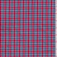 *3 YD PC--Red/Navy/White Plaid Cotton Shirting